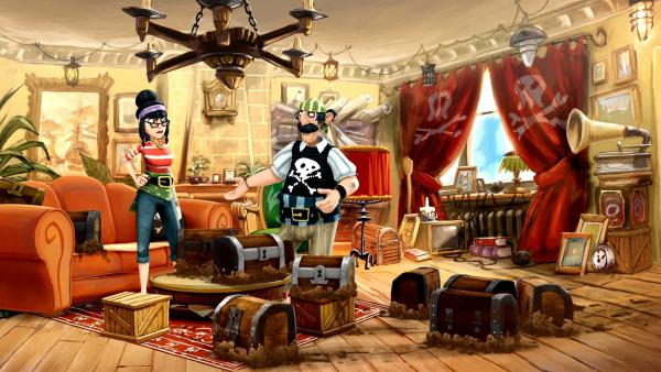 Die Pirateneltern Jolley Rogers versuchen ihre Schätze zu retten. | Rechte: WDR/Cyber Group Studios