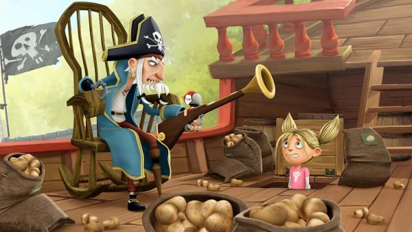 Matilda möchte bei Piratenopa Rogers einziehen. | Rechte: WDR/Cyber Group Studios