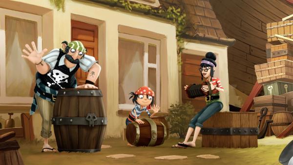 Jim und seine Piratenfamilie mögen es sonntags schön laut. | Rechte: WDR/Cyber Group Studios