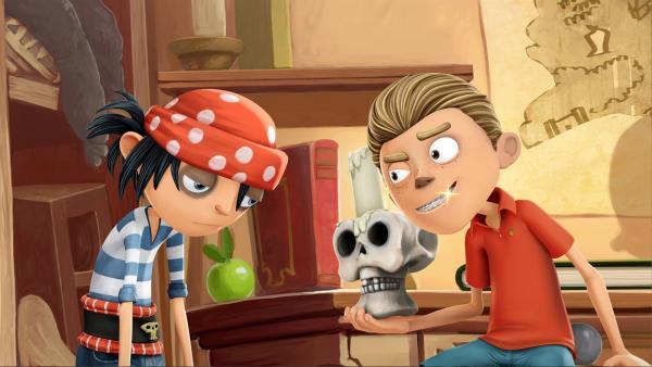 Piratenjunge Jim ist neidisch auf Brents glänzende Zahnspange. | Rechte: WDR/Cyber Group Studios