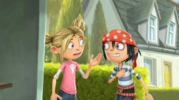 Matilda erklärt ihrem Freund jim was Muttertag ist. | Rechte: WDR/Cyber Group Studios