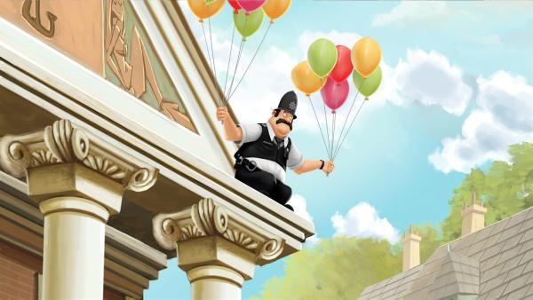 Der polizist von Schnarch am Deich wünscht sich fliegen zu können. | Rechte: WDR/Cyber Group Studios