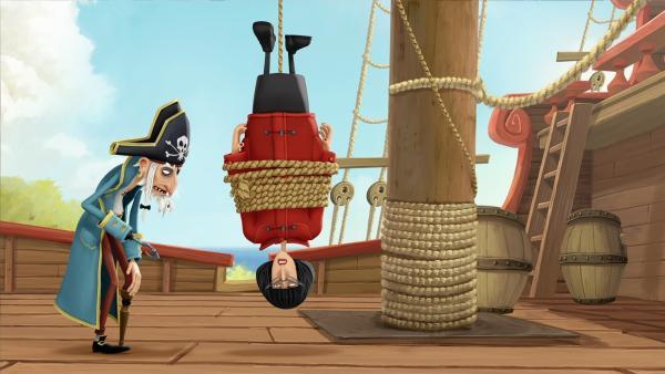 Piratenopa Rogers übernimmt das Kommando und fesselt erst mal Frau Biber. | Rechte: WDR/Cyber Group Studios