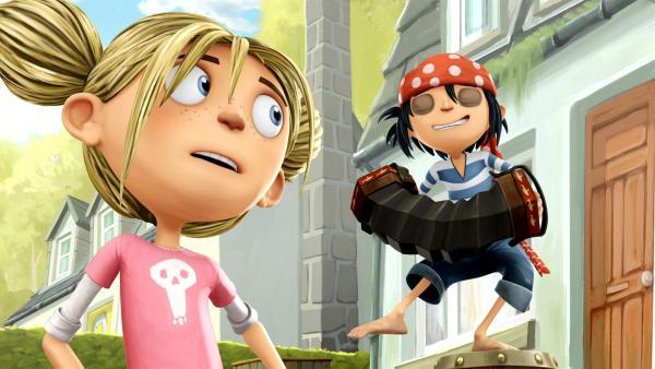 Matilda staunt über Jimis wilde Piratenmusik. | Rechte: WDR/Cyber Group Studios