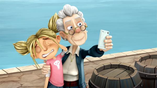 Die Bewohner von Schnarch am Deisch wollen jetzt Selfies mit Königin Matilda. | Rechte: WDR/Cyber Group Studios