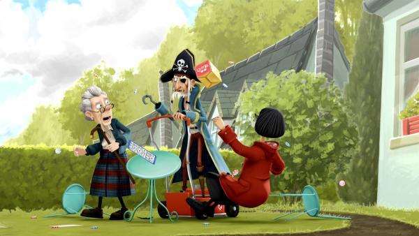 Auf seinem Rasenmäher bringt der Piratenopa als Rentner alles durcheinander. | Rechte: WDR/Cyber Group Studios