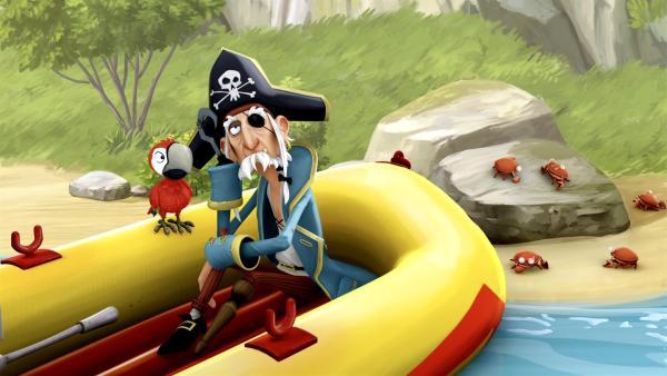 Der Piratenopa hat keine Lust mehr Kapitän zu sein und setzt sich zur Ruhe. | Rechte: WDR/Cyber Group Studios
