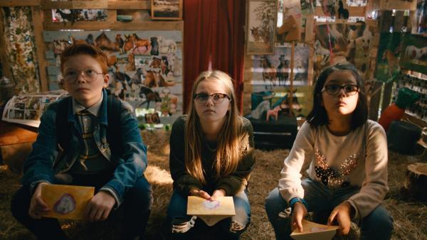 Floor (Bobbie Mulder, Mi.) muss Fragen über Pferde beantworten, um in den Pferdeclub aufgenommen zu werden. | Rechte: NDR/NL Film