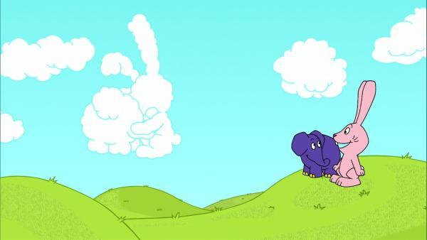 Elefant und Hase staunen über die Wolkenbilder. | Rechte: WDR