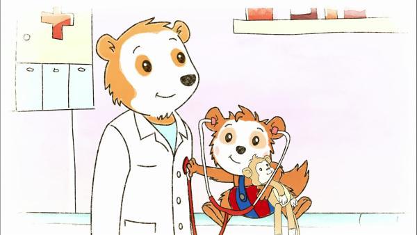 Bobo und seine Mama sind heute beim Kinderarzt. Sein Kuscheltier muss auch unbedingt mit. | Rechte: WDR