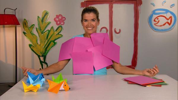 Anke liebt Origami. Ob man auf diese Weise auch ein T-Shirt basteln kann? | Rechte: WDR