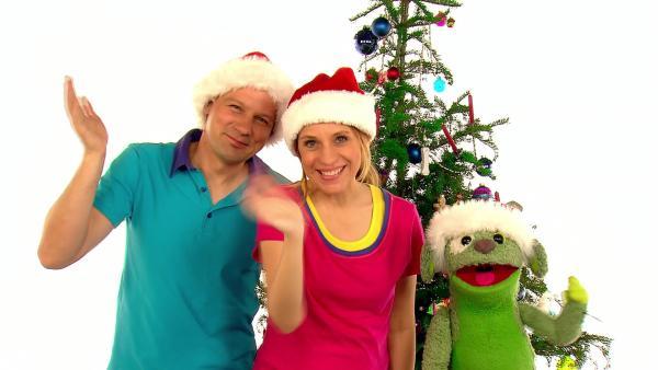 André, Tanja und Knolle wünschen frohe Weihnachten. | Rechte: WDR