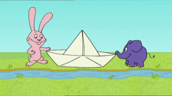 Hase und Elefant präsentieren Geschichten zum Thema Wasser. | Rechte: WDR