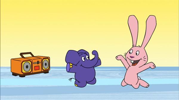 Hase und Elefant machen Musik. | Rechte: WDR