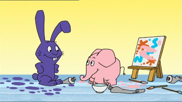 Hase und Elefant malen ein ganz buntes Bild. | Rechte: WDR