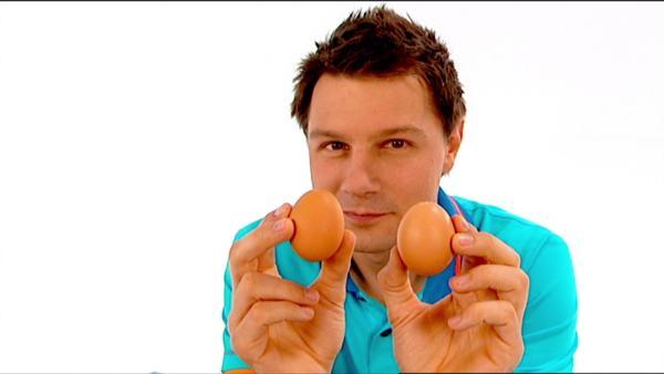 André versucht herauszufinden, wie man ein rohes von einem gekochten Ei unterscheidet. | Rechte: WDR