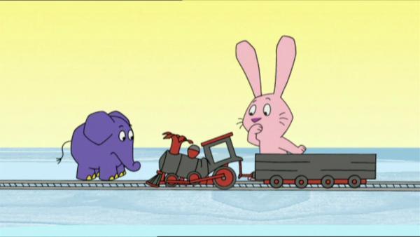 Hase und Elefant erleben eine Geschichte mit großen Fahrzeugen. | Rechte: WDR