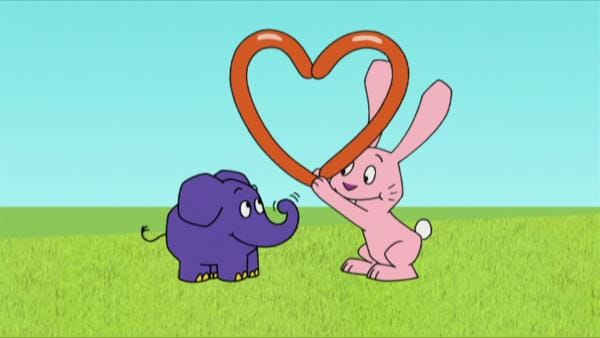 Hase und Elefant basteln ein Herz. | Rechte: WDR