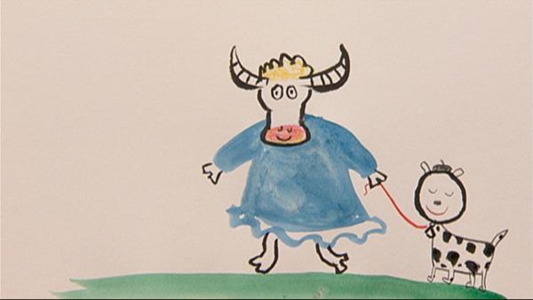 Die Bilderbuchillustratoren Jutta Bauer und Ole Könnecke zeichnen eine Kuh mit einem blauen Kleid. | Rechte: WDR/Die Sendung mit dem Elefanten