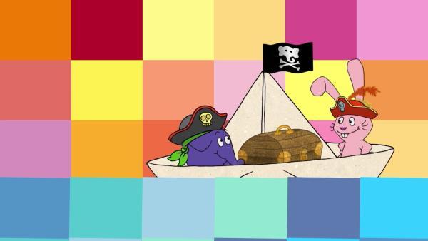 Hase und Elefant sind als Piraten unterwegs. | Rechte: WDR/Die Sendung mit dem Elefanten