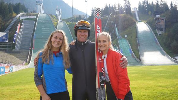 Ganz schön mutig! Arthur Abele, Europameister im Zehnkampf, wagt die Promi-Challenge beim Skispringen. | Rechte: ZDF/Dajana Pürsten