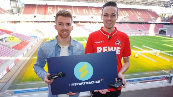 E-Sport: Moderator Stefan mit Virtual Bundesliga-Profi Timo Gruneisen   Rechte: ZDF/Fabian Gratzla