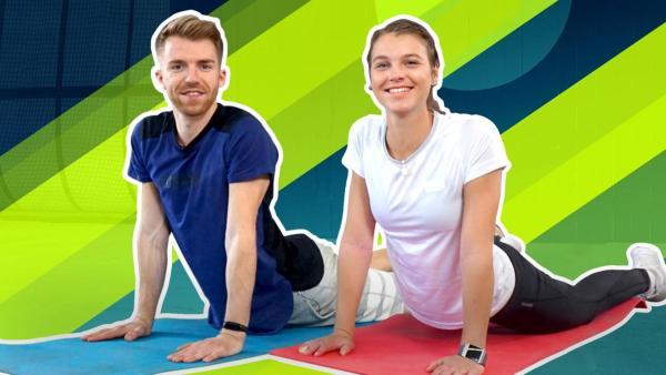 Stefan (links) und Laura (rechts) machen Yoga.   Rechte: ZDF