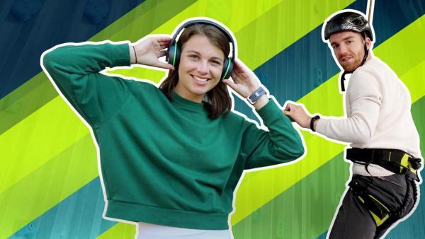 Laura (links) trägt große Kopfhörer, Stefan seilt sich ab (rechts) | Rechte: ZDF