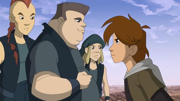 Leon bietet dem Dicken Michi die Stirn. | Rechte: ZDF/WunderWerk 2012