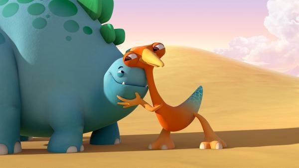 Bob und Gwen umarmen sich.   Rechte: KiKA/Kindle Entertainment Ltd., Guru Studios Ltd. & Laughing Gravy Media Ltd. 2014
