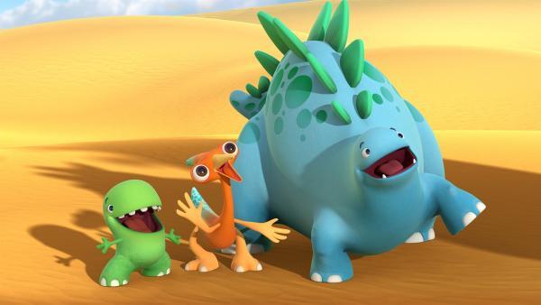 Toni, Gwen und Bob stellen sich dem Solodinotap Meggi vor. | Rechte: KiKA/Kindle Entertainment Ltd., Guru Studios Ltd. & Laughing Gravy Media Ltd. 2014