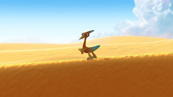 Gwen läuft ganz allein auf einer Sanddüne entlang. | Rechte: KiKA/Kindle Entertainment Ltd., Guru Studios Ltd. & Laughing Gravy Media Ltd. 2014