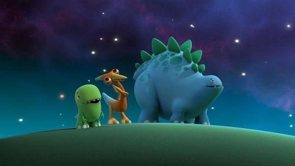 Toni, Gwen und Bob bewundern die funkelnden Sterne am Nachthimmel. | Rechte: KiKA/Kindle Entertainment Ltd., Guru Studios Ltd. & Laughing Gravy Media Ltd. 2014