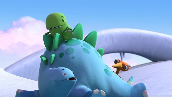 Toni, Bob und Gwen entdecken eine aufregende Schneelandschaft.    Rechte: KiKA/Kindle Entertainment Ltd., Guru Studios Ltd. & Laughing Gravy Media Ltd. 2014