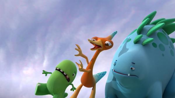 Heute stürmt es. Toni, Gwen und Bob können kaum laufen.  | Rechte: KiKA/Kindle Entertainment Ltd., Guru Studios Ltd. & Laughing Gravy Media Ltd. 2014
