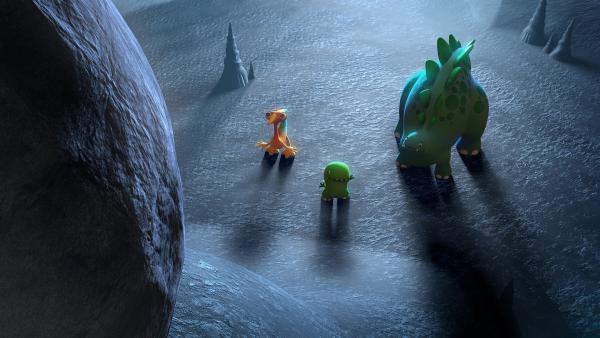 Gwen, Bob und Toni finden Tonis riesigen Stein in einer Höhle wieder.    Rechte: KiKA/Kindle Entertainment Ltd., Guru Studios Ltd. & Laughing Gravy Media Ltd. 2014