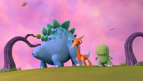 Bob, Gwen und Toni im windigen Tal mit rosafarbenem Himmel. | Rechte: KiKA/Kindle Entertainment Ltd., Guru Studios Ltd. & Laughing Gravy Media Ltd. 2014