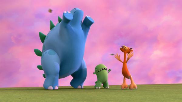 Bob, Toni und Gwen versuchen, an das Loch im Himmel zu kommen. | Rechte: KiKA/Kindle Entertainment Ltd., Guru Studios Ltd. & Laughing Gravy Media Ltd. 2014