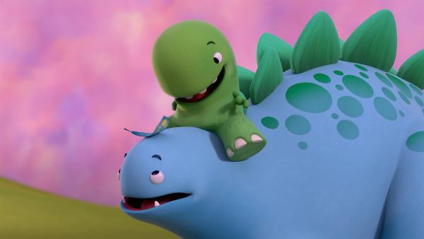 Toni freut sich über die Feder auf Bobs Kopf. | Rechte: KiKA/Kindle Entertainment Ltd., Guru Studios Ltd. & Laughing Gravy Media Ltd. 2014