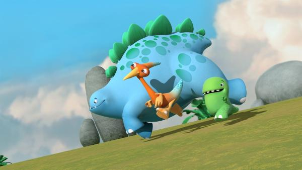 Bob, Gwen und Toni rennen einen Hügel auf der Suche nach dem nächsten Abenteuer hinab. | Rechte: KiKA/Kindle Entertainment Ltd., Guru Studios Ltd. & Laughing Gravy Media Ltd. 2014