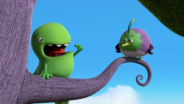 Toni erklärt dem kleinen Vogel, dass er seine Stimme sucht. | Rechte: KiKA/Kindle Entertainment Ltd., Guru Studios Ltd. & Laughing Gravy Media Ltd. 2014