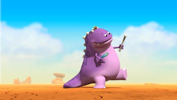 Ein anderer Dinotap hat die Objekte unserer Freunde: Feder, Eichel und Knochen.   Rechte: KiKA/Kindle Entertainment Ltd., Guru Studios Ltd. & Laughing Gravy Media Ltd. 2014