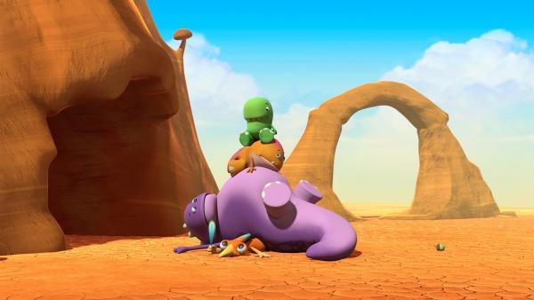 Ein Dinotaps-Haufen: Gwen hält ihre Feder ganz fest.   Rechte: KiKA/Kindle Entertainment Ltd., Guru Studios Ltd. & Laughing Gravy Media Ltd. 2014