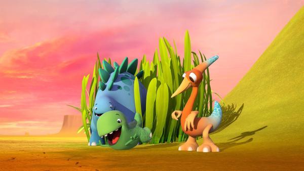 Bob versteckt sich, Toni schlittert den Berg herab und Gwen genießt den Duft.   Rechte: KiKA/Kindle Entertainment Ltd., Guru Studios Ltd. & Laughing Gravy Media Ltd. 2014