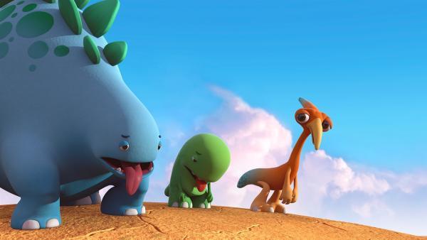 Unseren drei Dinotaps ist es heiß, sie haben Durst und einen riesigen Hunger. | Rechte: KiKA/Kindle Entertainment Ltd., Guru Studios Ltd. & Laughing Gravy Media Ltd. 2014