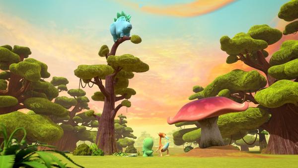 Bob steckt auf einem Baum fest, auf den er mit Hilfe des Hüpferlings gesprungen ist. Gwen und Toni sind ratlos. | Rechte: KiKA/Kindle Entertainment Ltd., Guru Studios Ltd. & Laughing Gravy Media Ltd. 2014