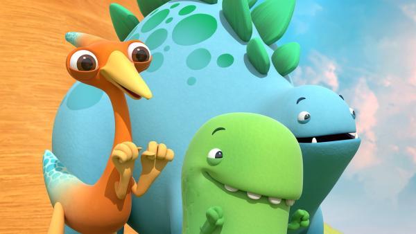 Heute haben die Dinotaps Lust auf ein großes Abenteuer. | Rechte: KiKA/Kindle Entertainment Ltd., Guru Studios Ltd. & Laughing Gravy Media Ltd. 2014