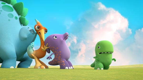Pawel behauptet, er sei der Meistmutigste von allen Dinotaps. Ob das wohl stimmt? | Rechte: KiKA/Kindle Entertainment Ltd., Guru Studios Ltd. & Laughing Gravy Media Ltd. 2014