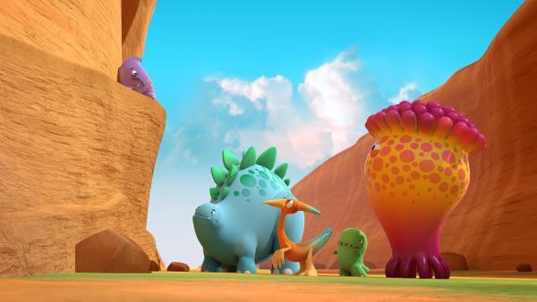 Nun müssen die Dinotaps den doch nicht ganz so mutigen Pawel retten.  | Rechte: KiKA/Kindle Entertainment Ltd., Guru Studios Ltd. & Laughing Gravy Media Ltd. 2014