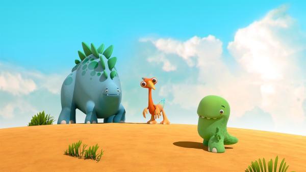 Bob, Gwen und Toni denken sich gerade das Spiel des Tages aus. | Rechte: KiKA/Kindle Entertainment Ltd., Guru Studios Ltd. & Laughing Gravy Media Ltd. 2014